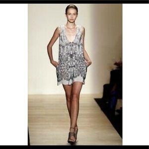 BCBG Runway Silk Lace Print Playsuit